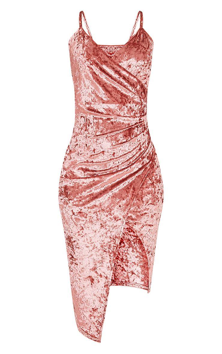 Prina robe midi cache-cœur rose à bretelles en velours écrasé 3