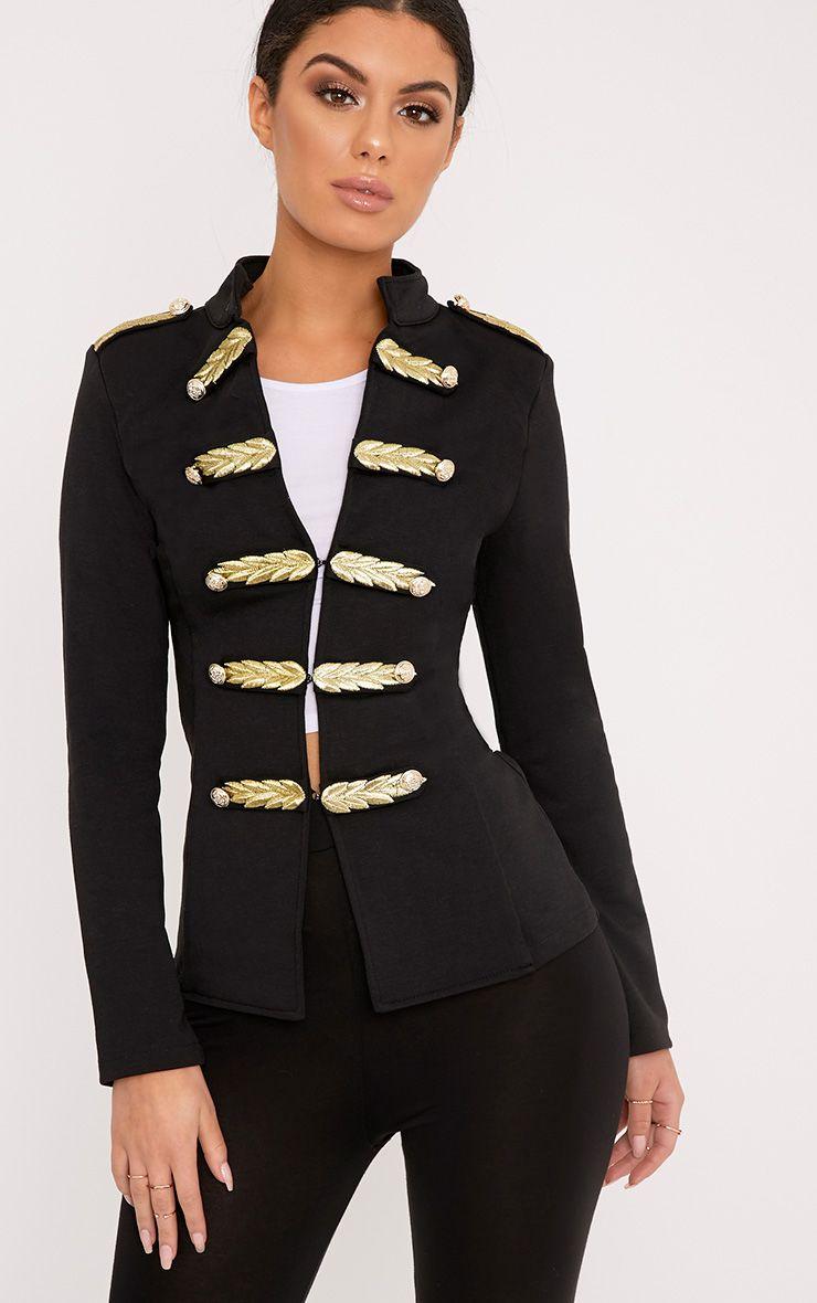 Braeley Black Military Style Blazer