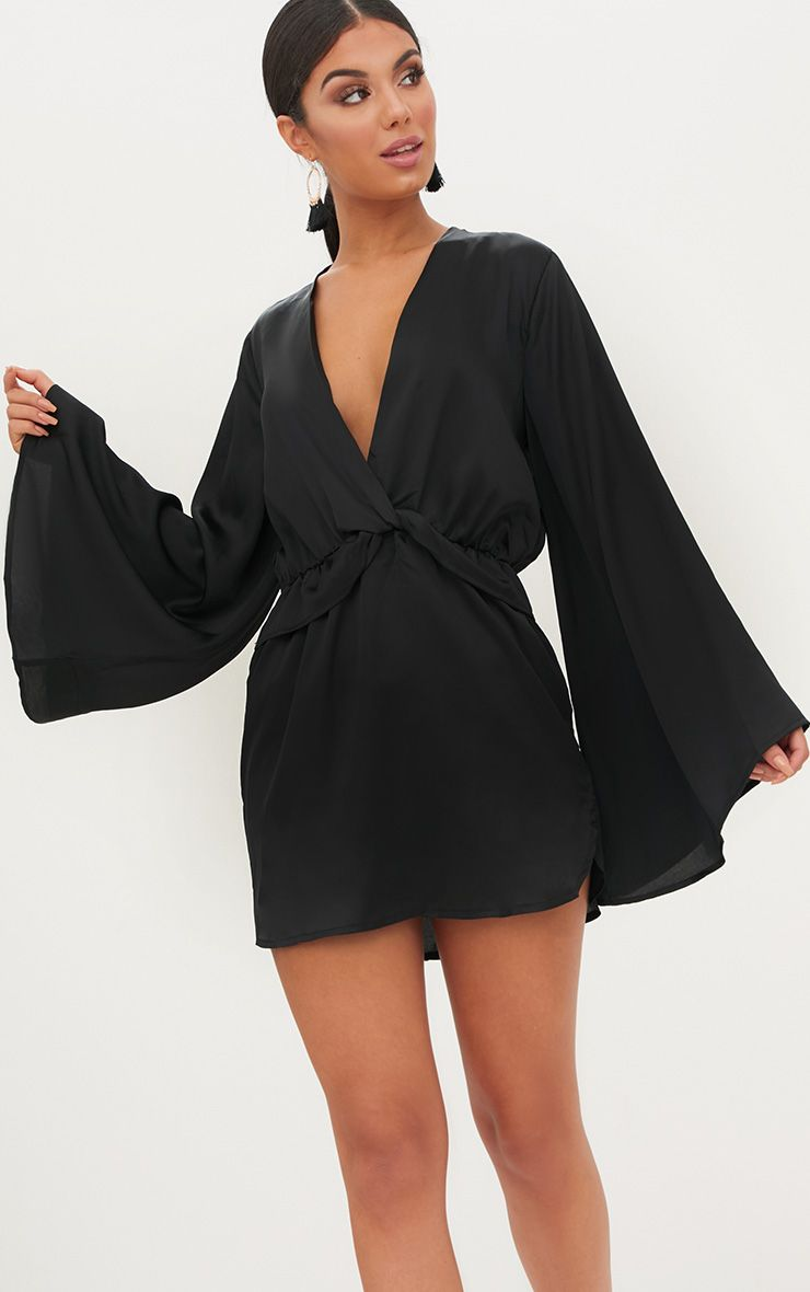 Black Satin Kimono Sleeve Plunge Shift Dress