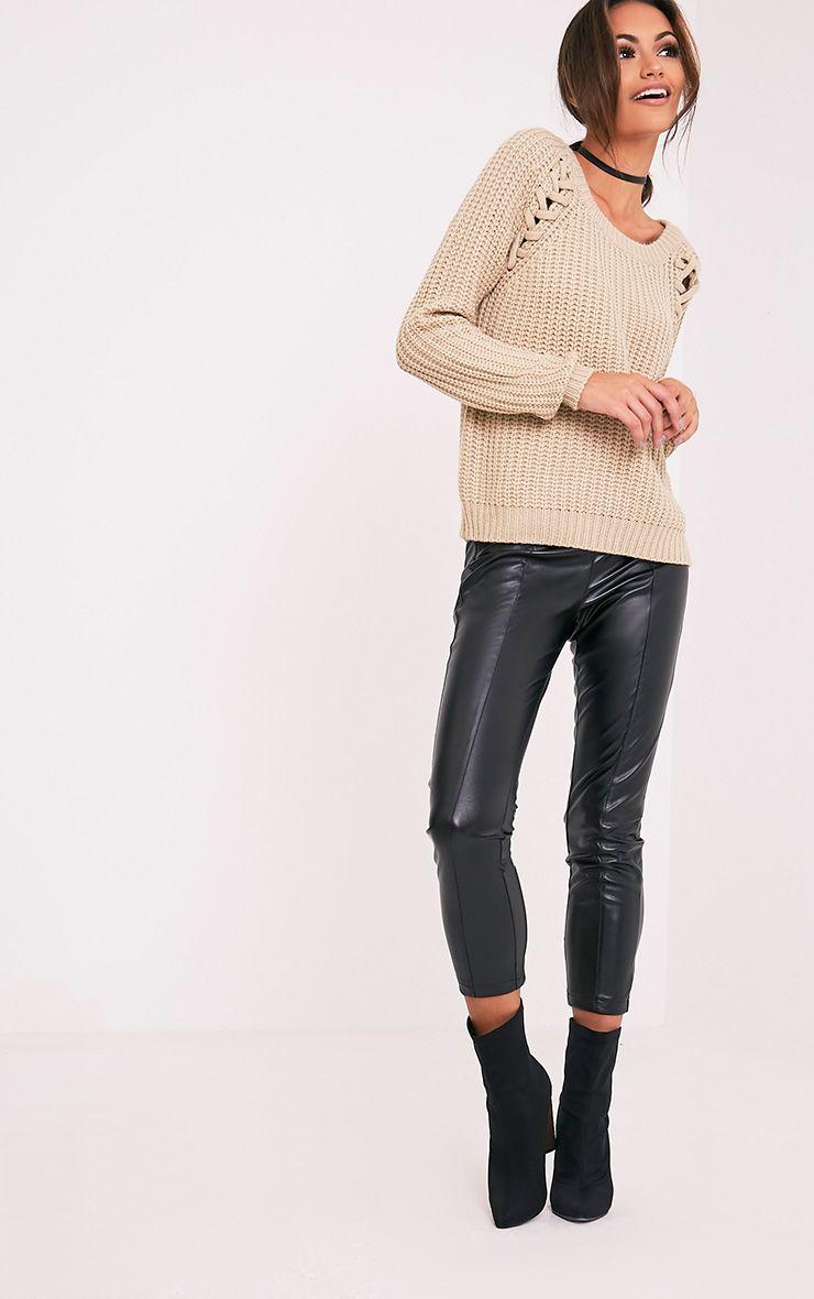 Iolanne pull à grosse maille et lacets gris pierre 5