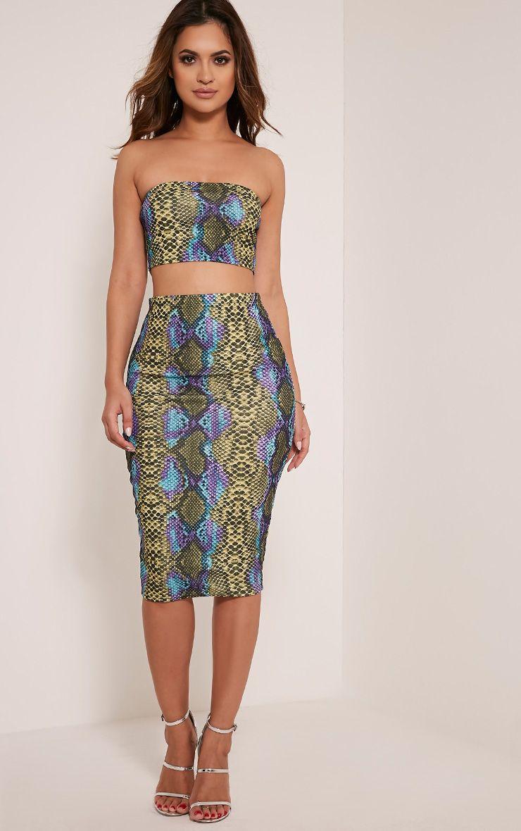 Dora Lime Snake Print Midi Skirt 1