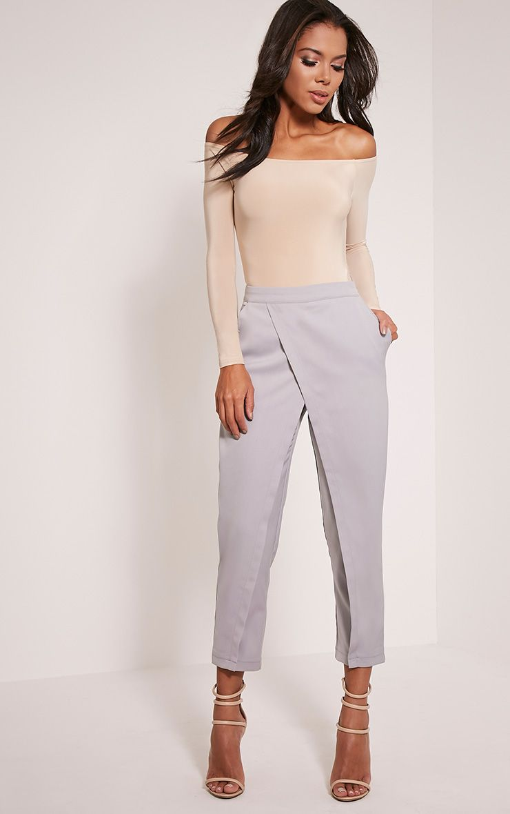 Petite Rachel Grey Cross Front Trousers