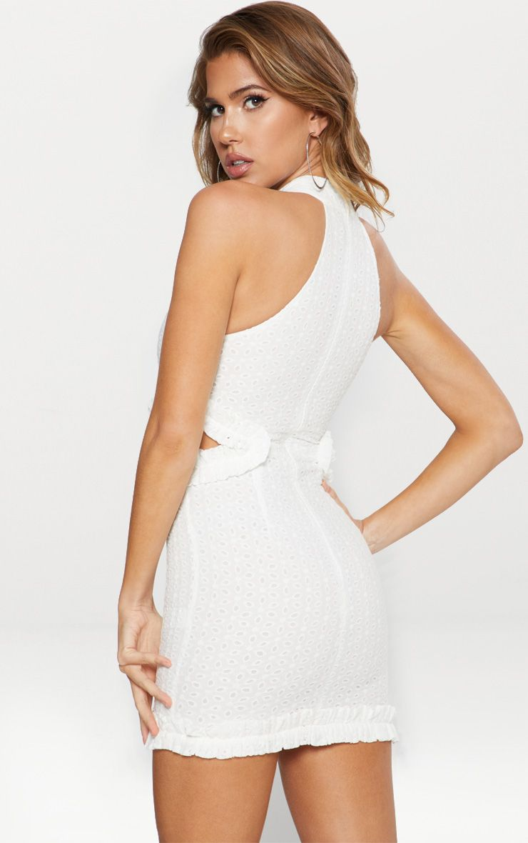 White Broderie Anglaise High Neck Cut Out Detail Bodycon Dress Pretty Little Thing mnYFjJLAV9