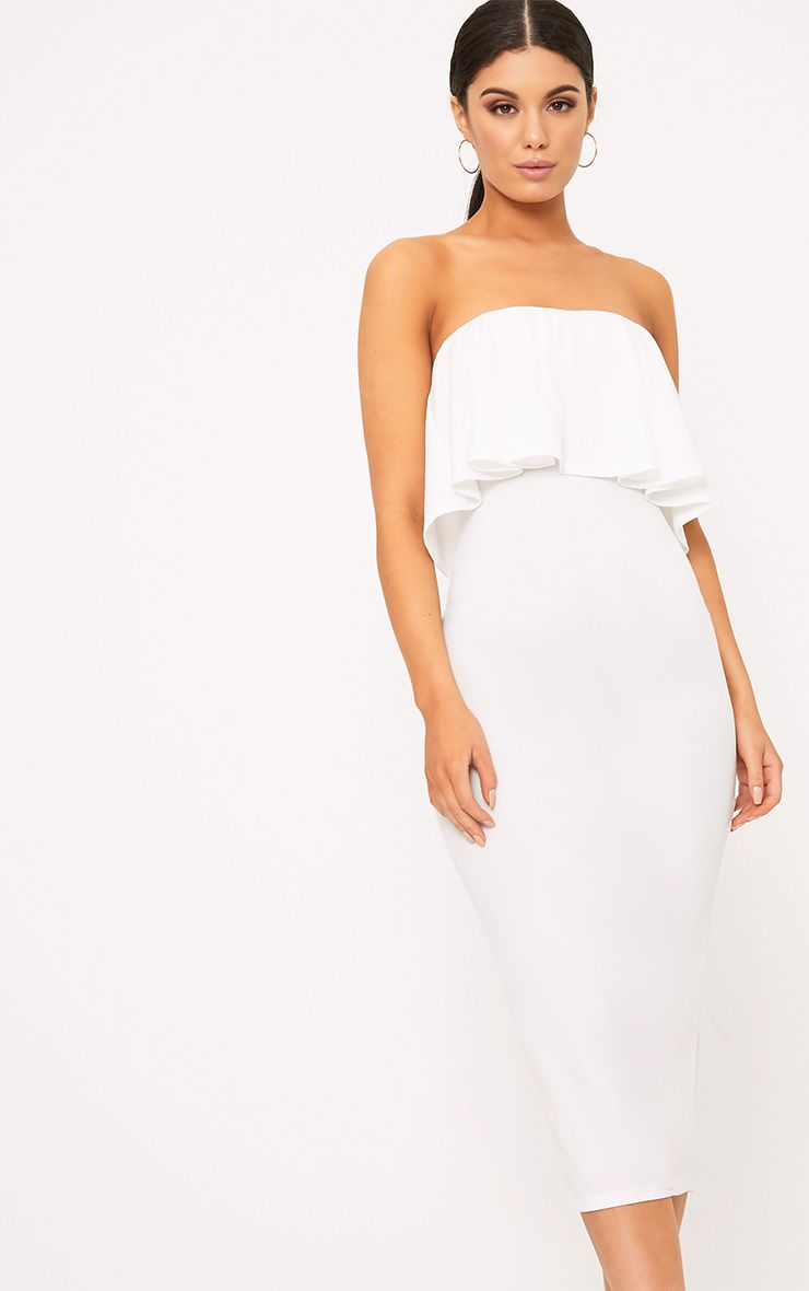 White Frill Bandeau Midi Dress