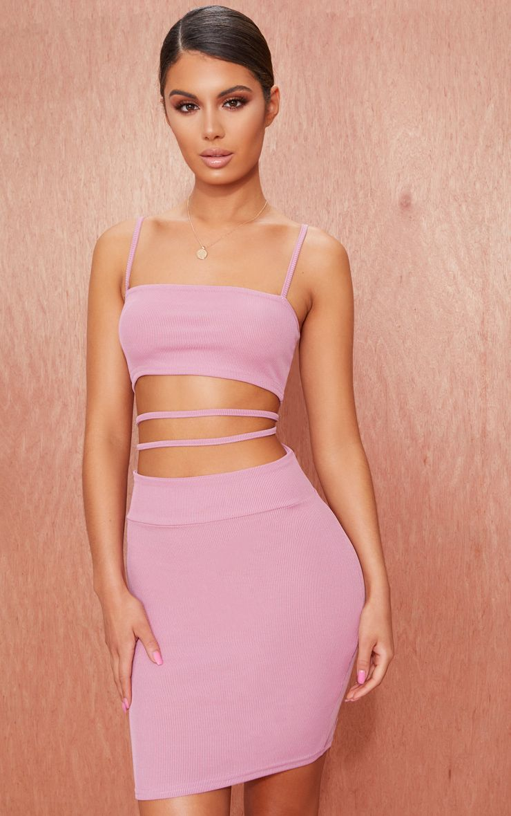 Ribbed strappy detail bodycon dress cut out mauve the