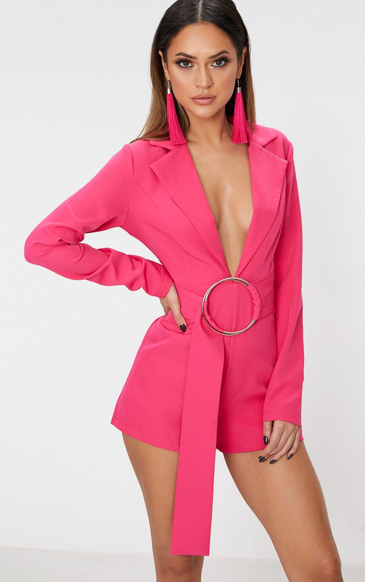 Fuchsia Tux Long Sleeve Playsuit