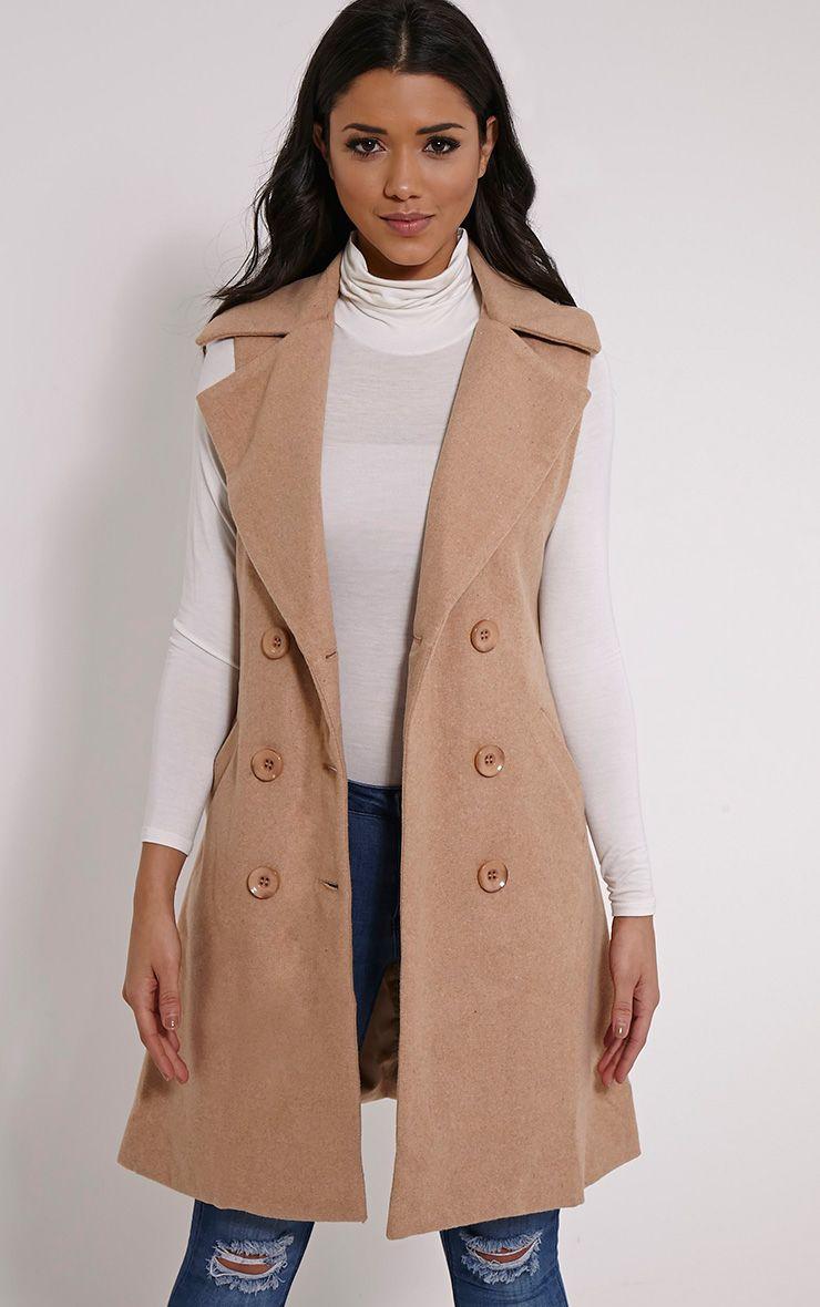 Ginny Camel Large Collared Waistcoat 1