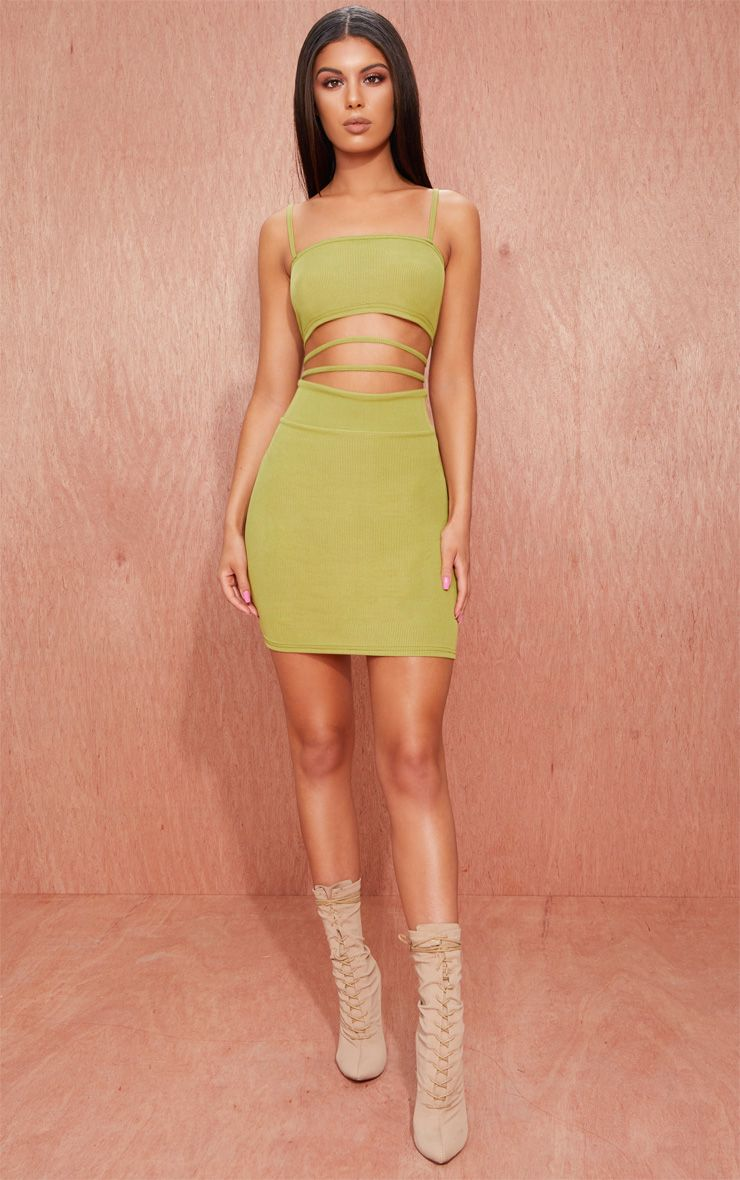 Dress strappy mauve bodycon ribbed out detail cut sleeved
