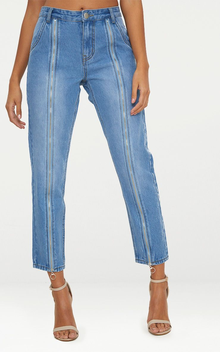 MID WASH ZIP UP LEG MOM JEAN