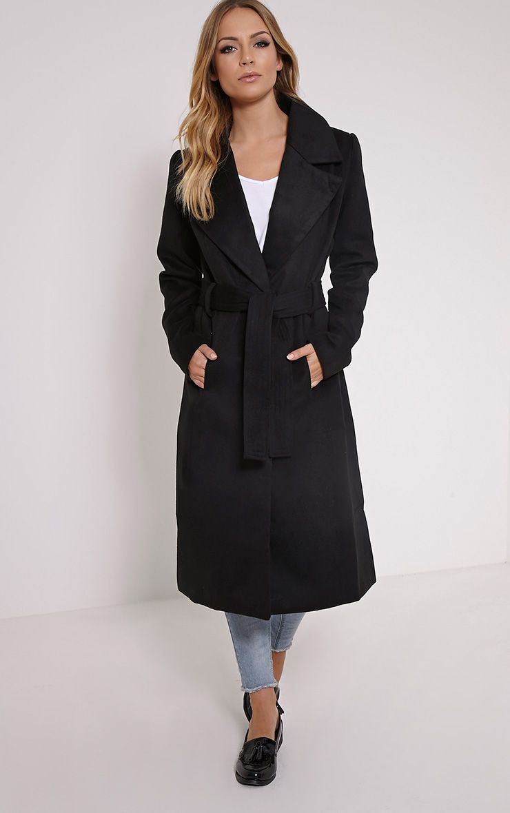 Gwenore Black Belted Waisted Longline Coat 1