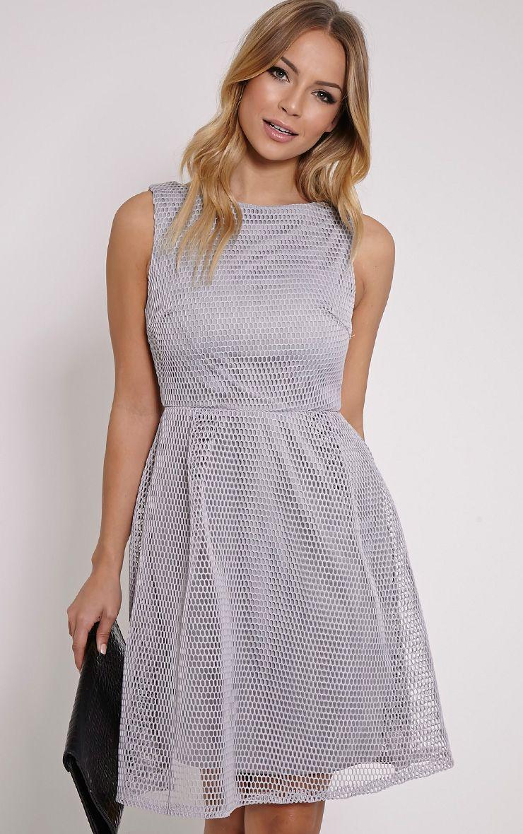 Lovette Grey Fishnet Party Dress 1