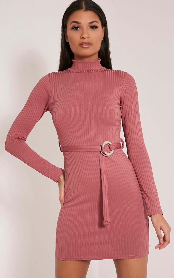 Mya Rose Belt Detail Ribbed Bodycon Dress Pink