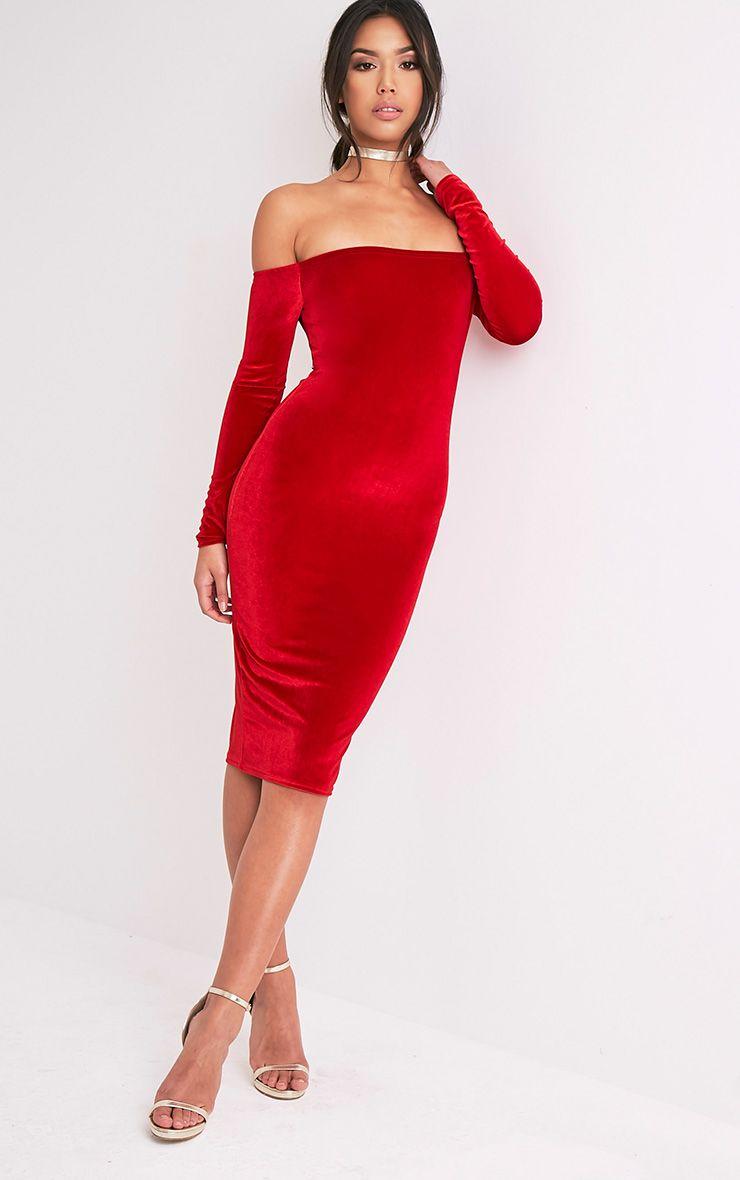 Kimmia Red Velvet Bardot Midi Dress 1