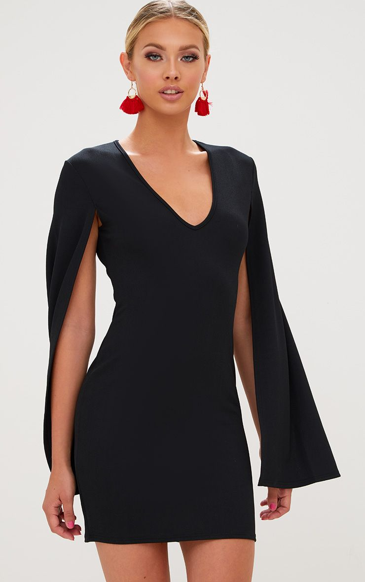 Black Split Arm Bodycon Dress