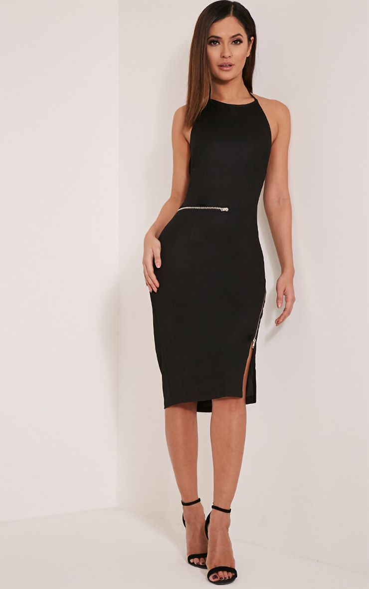 Lottie Black Zip Detail Midi Dress