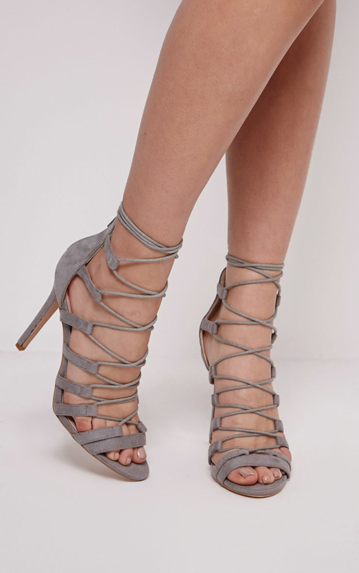 Rosah Light Grey Faux Suede Lace Up Heels 1