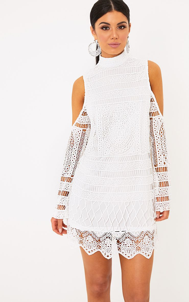 Palmira White Lace Cold Shoulder Shift Dress