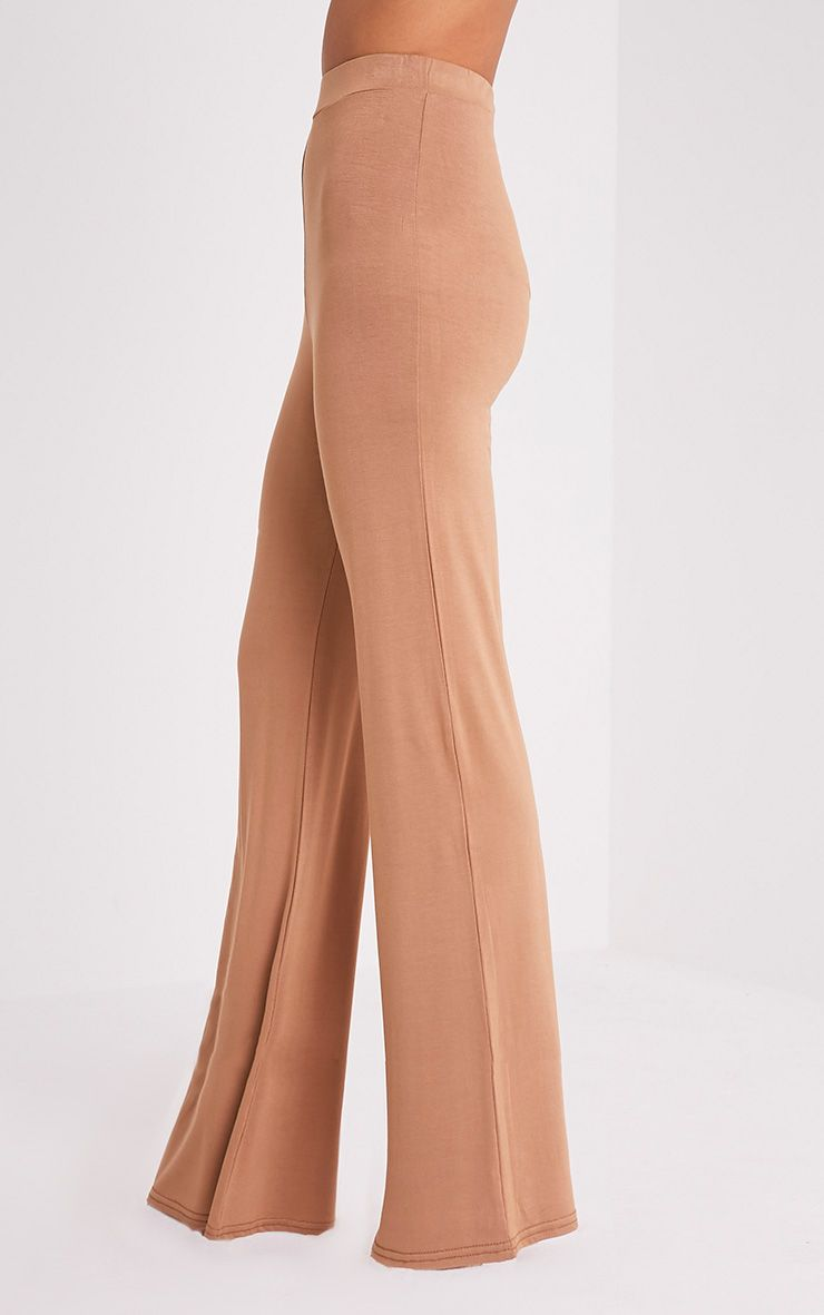 Basic pantalon large en jersey camel 4