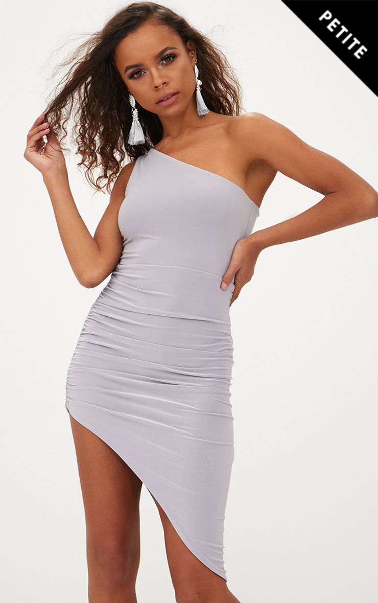 Petite Ice Grey Slinky One Shoulder Asymmetric Ruched Dress