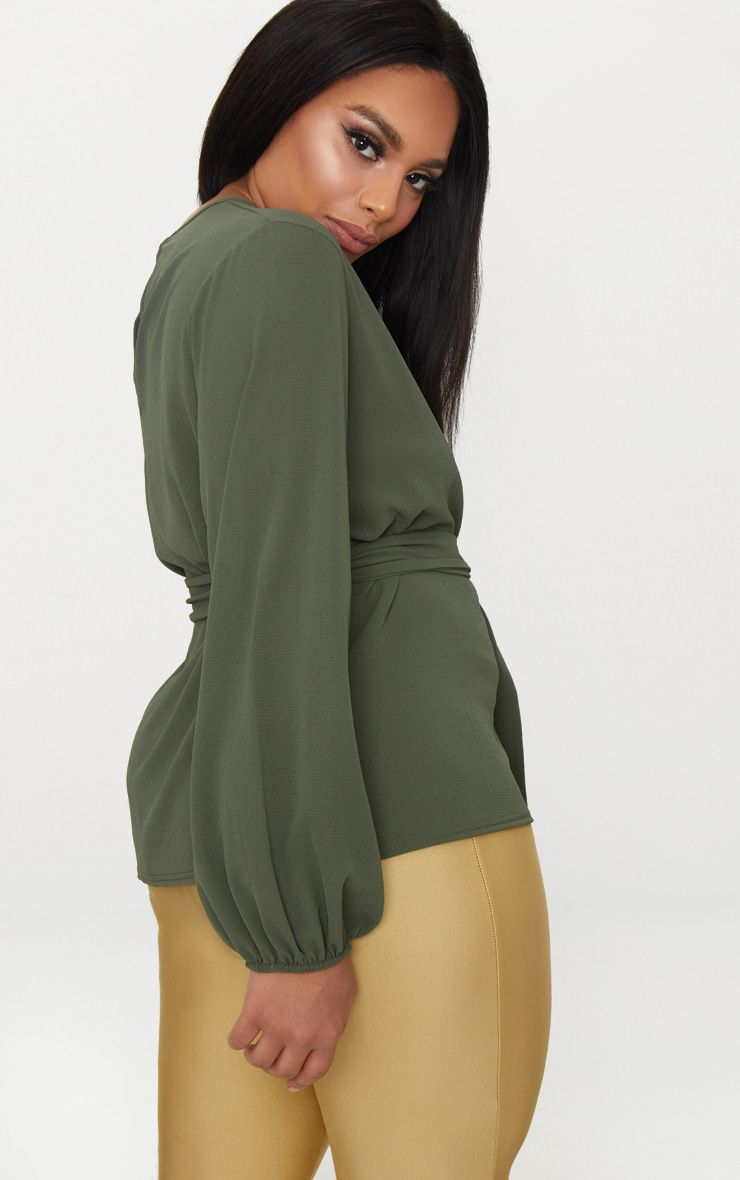 Free Shipping Pay With Paypal Cheap Newest Plus Khaki Waist Tie Blouse Pretty Little Thing DQiKXUh