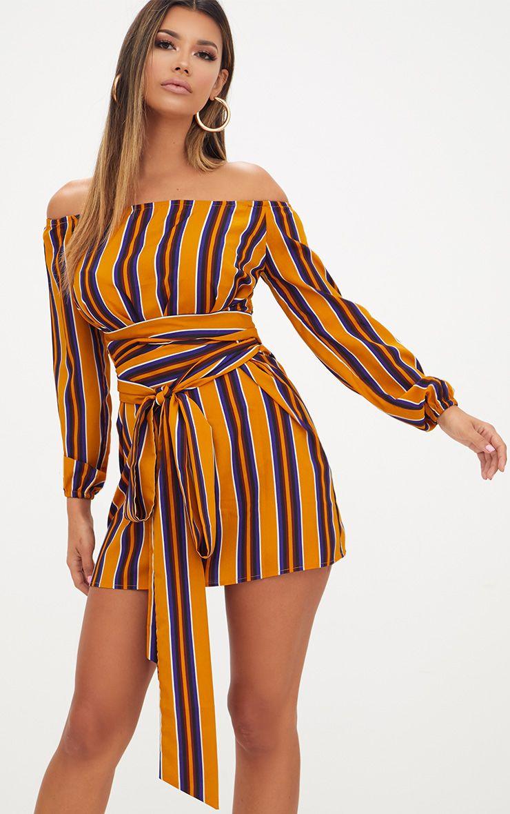 Mustard Stripe Bardot Tie Waist Shift Dress