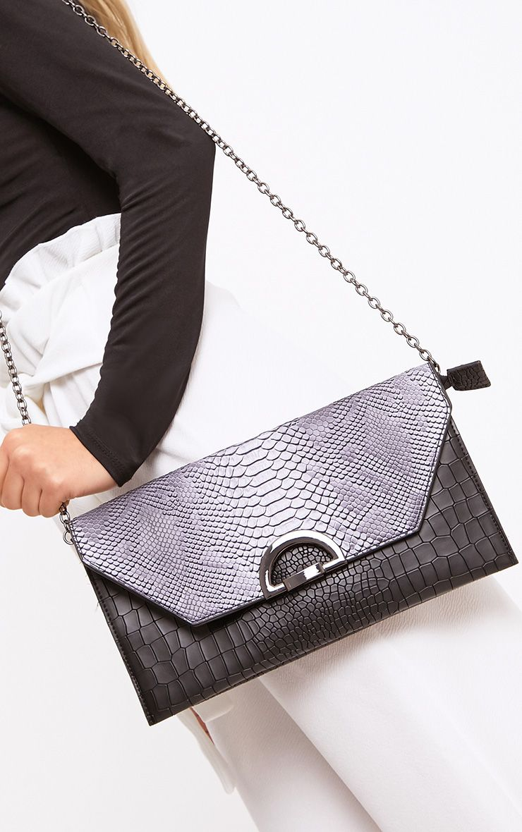 Black Reptile Fold Over Clutch Bag
