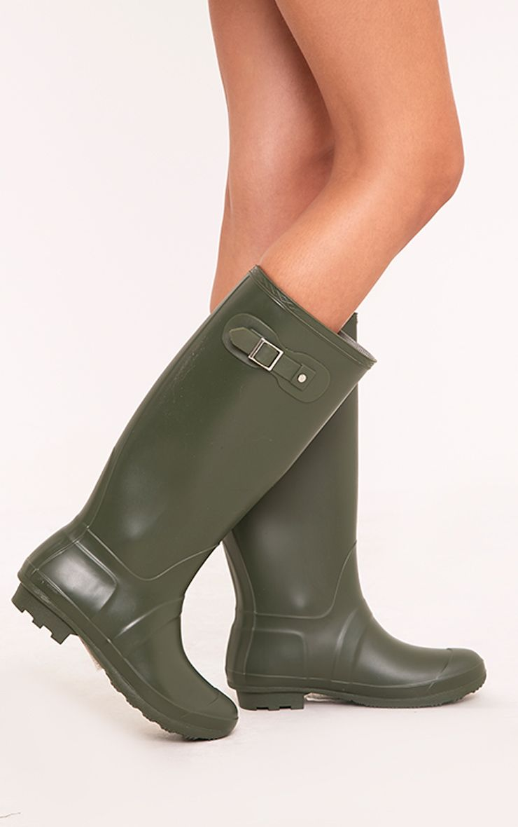 Martina Dark Green Long Rain Boots