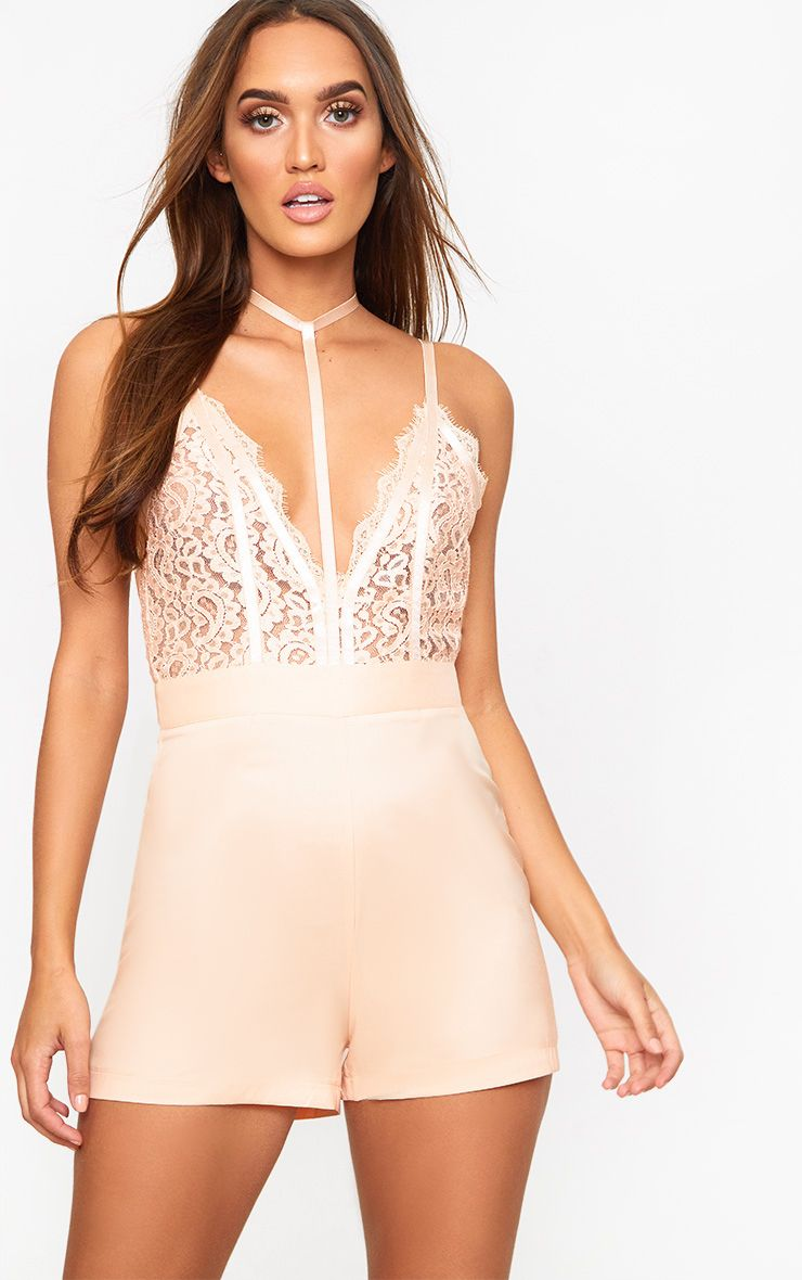 Nude Choker Lace Playsuit