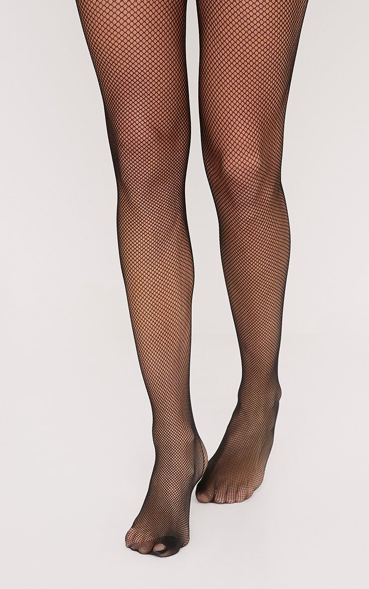 Leyna Black Fishnet Backseam Tights
