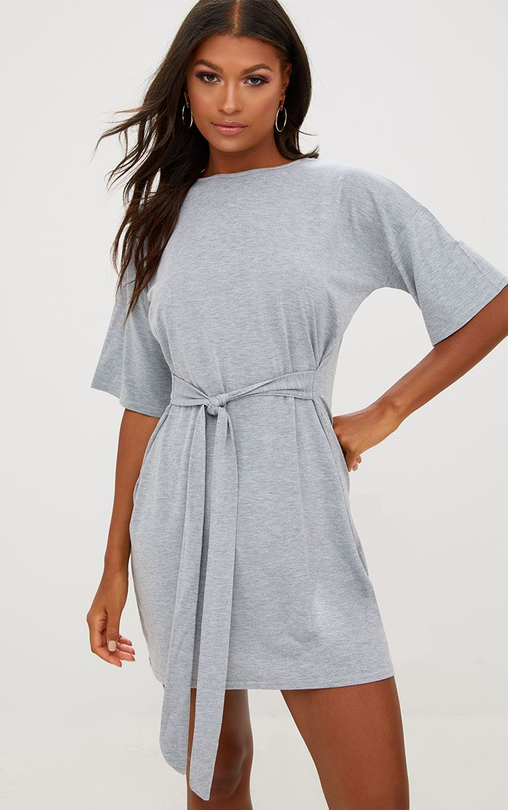 Grey Tie Waist T Shirt Dress