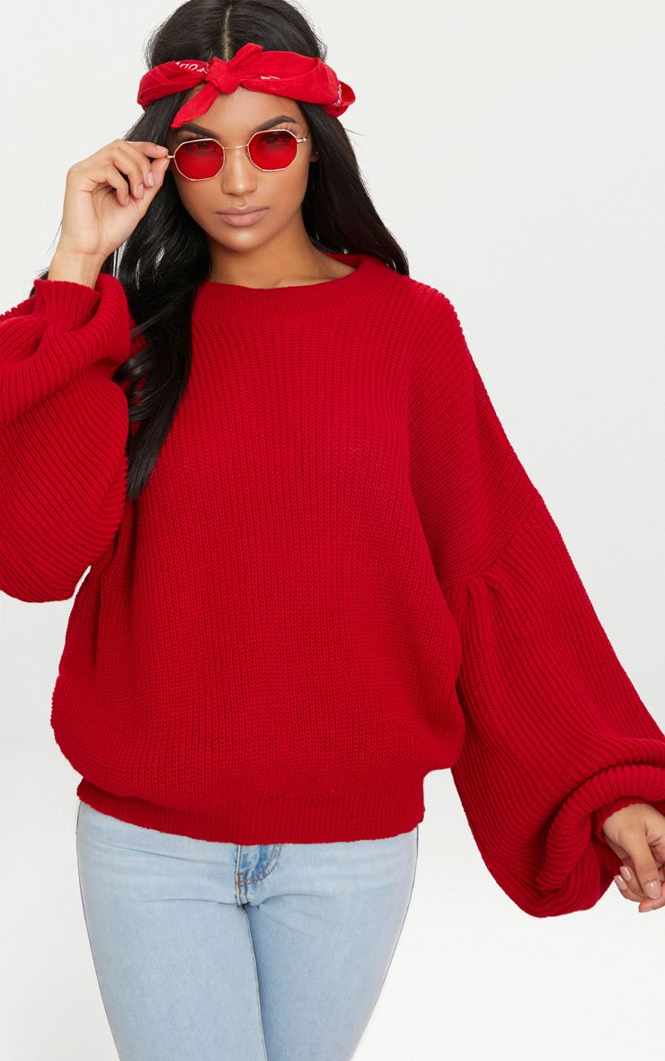 Red Extreme Balloon Sleeve Jumper