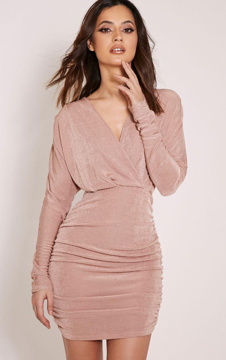 Gabrielle Blush Cape Ruched Bodycon Dress 1