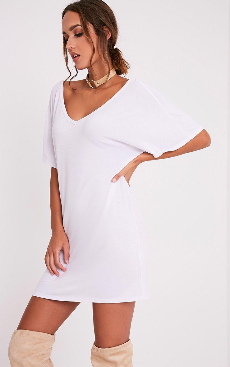 Basic White V Neck T Shirt Dress Dresses