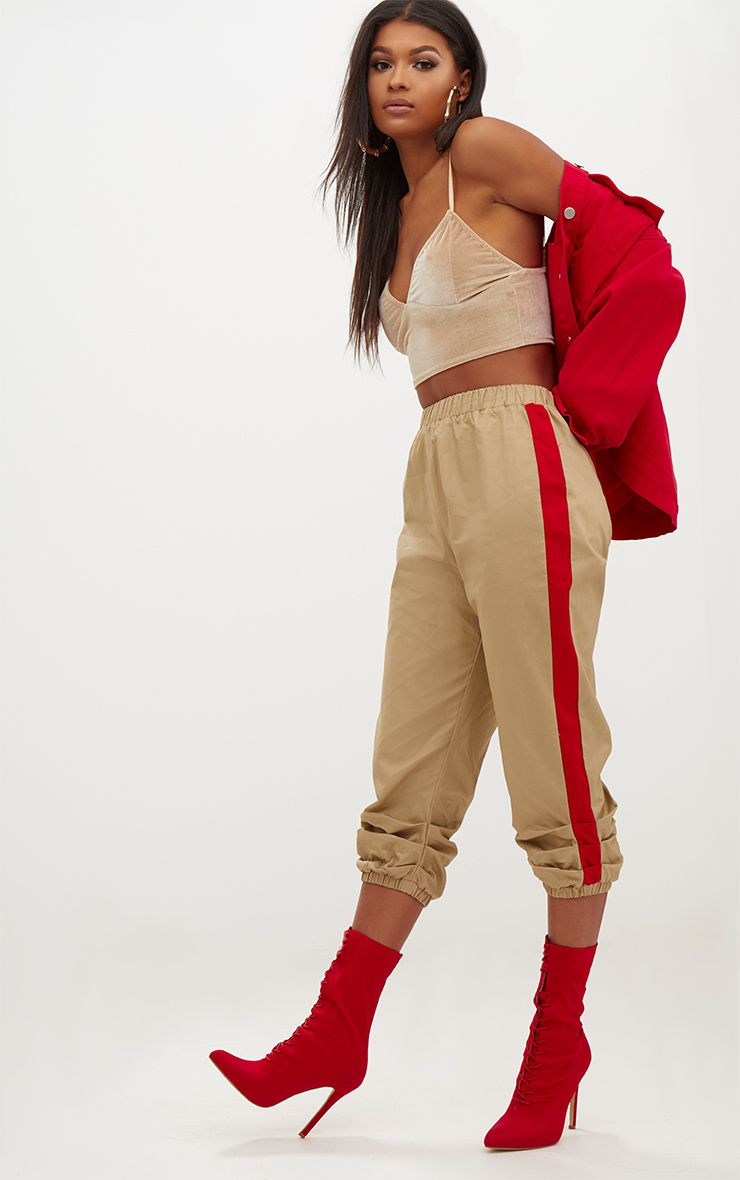 Stone Cropped Contrast Stripe Cargo Trousers