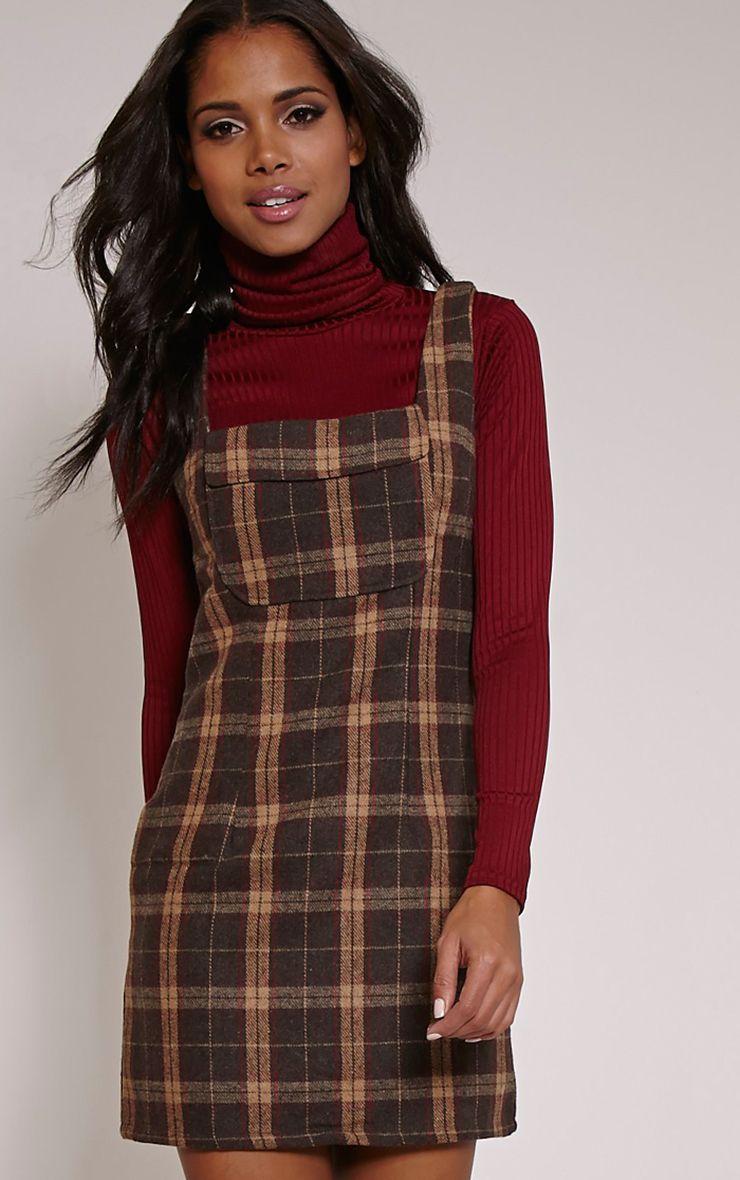 Julli Brown Checked Pinafore Dress 1