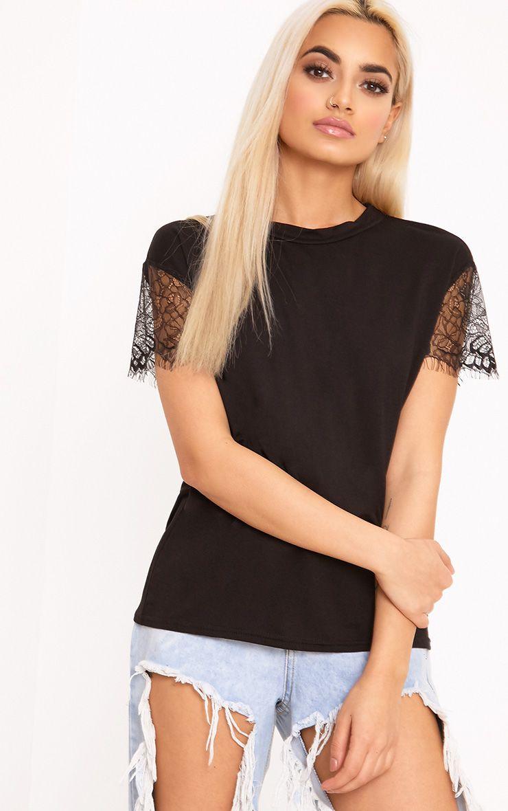 Rain Black Eyelash Lace Sleeve Oversized T Shirt