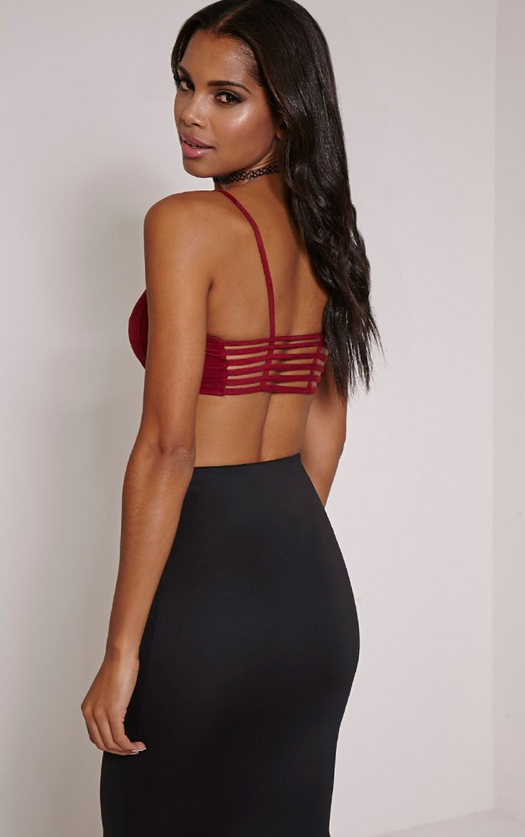 Priya Wine Faux Suede Cut Out Back Bralet 1