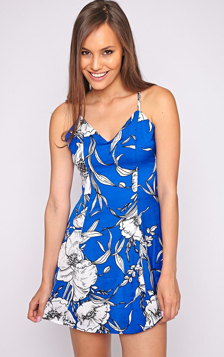 Luciana Cobalt Tropical Print Swing Dress 1