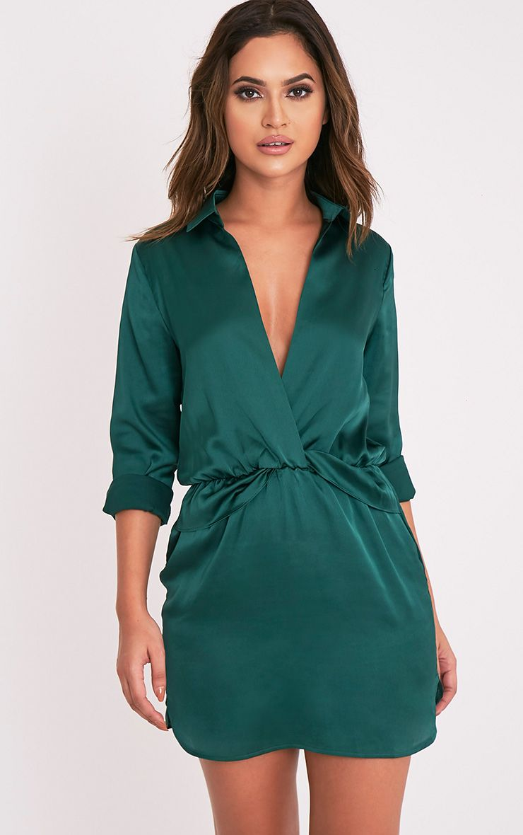 Katalea Emerald Green Twist Front Silky Shirt Dress
