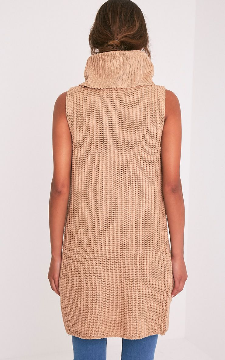 Merial Camel Sleeveless Cowl Neck Jumper 2
