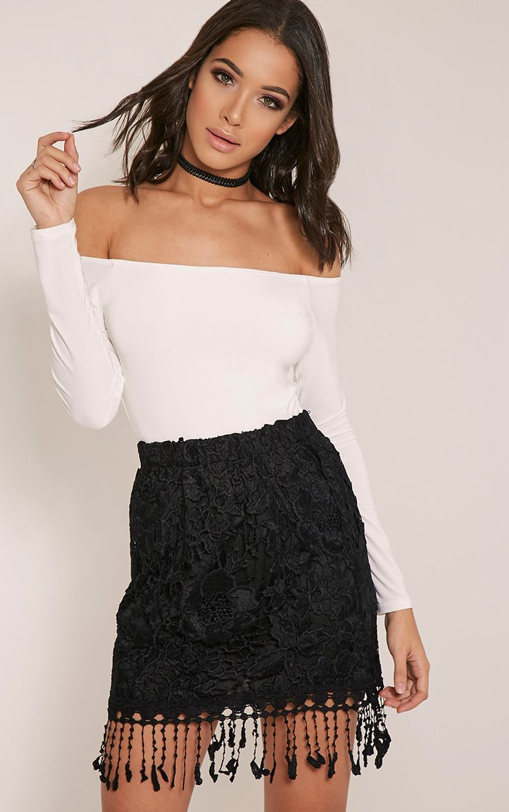 Faithlyn Black Tassel Crochet Mini Skirt 1
