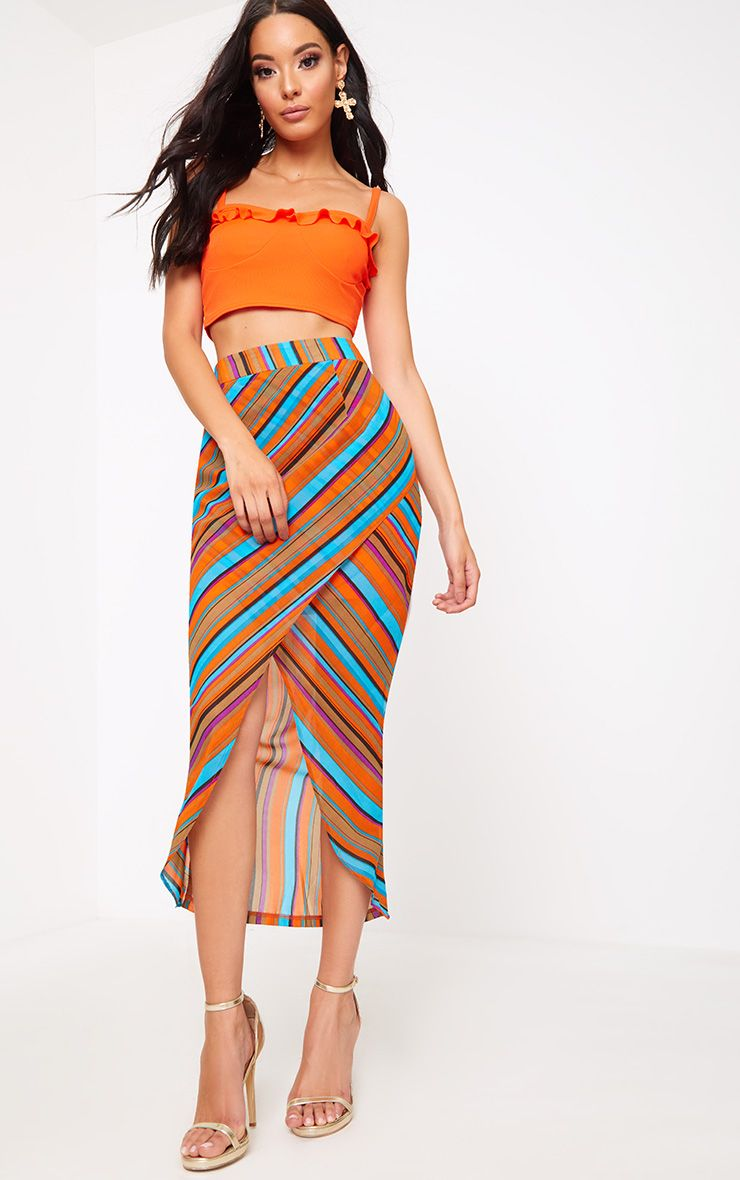 Orange Stripe Wrap Midaxi Skirt