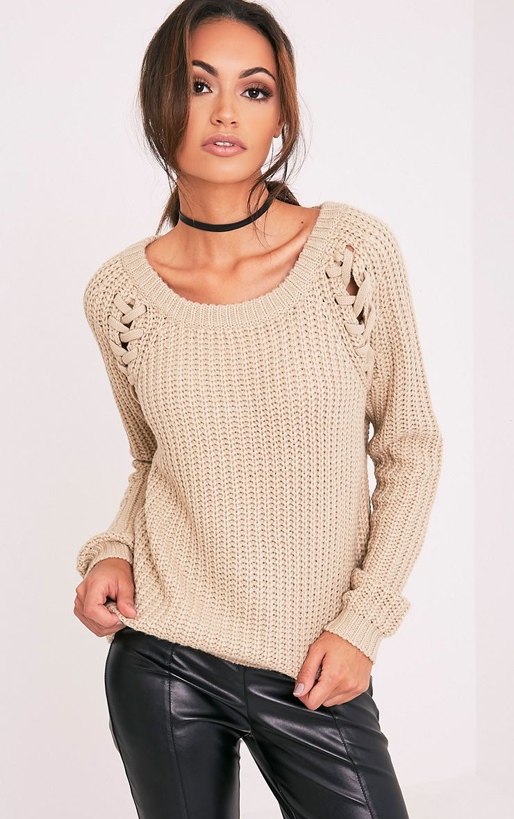lolanne Stone Lace Up Detail Chunky Knit Jumper 1