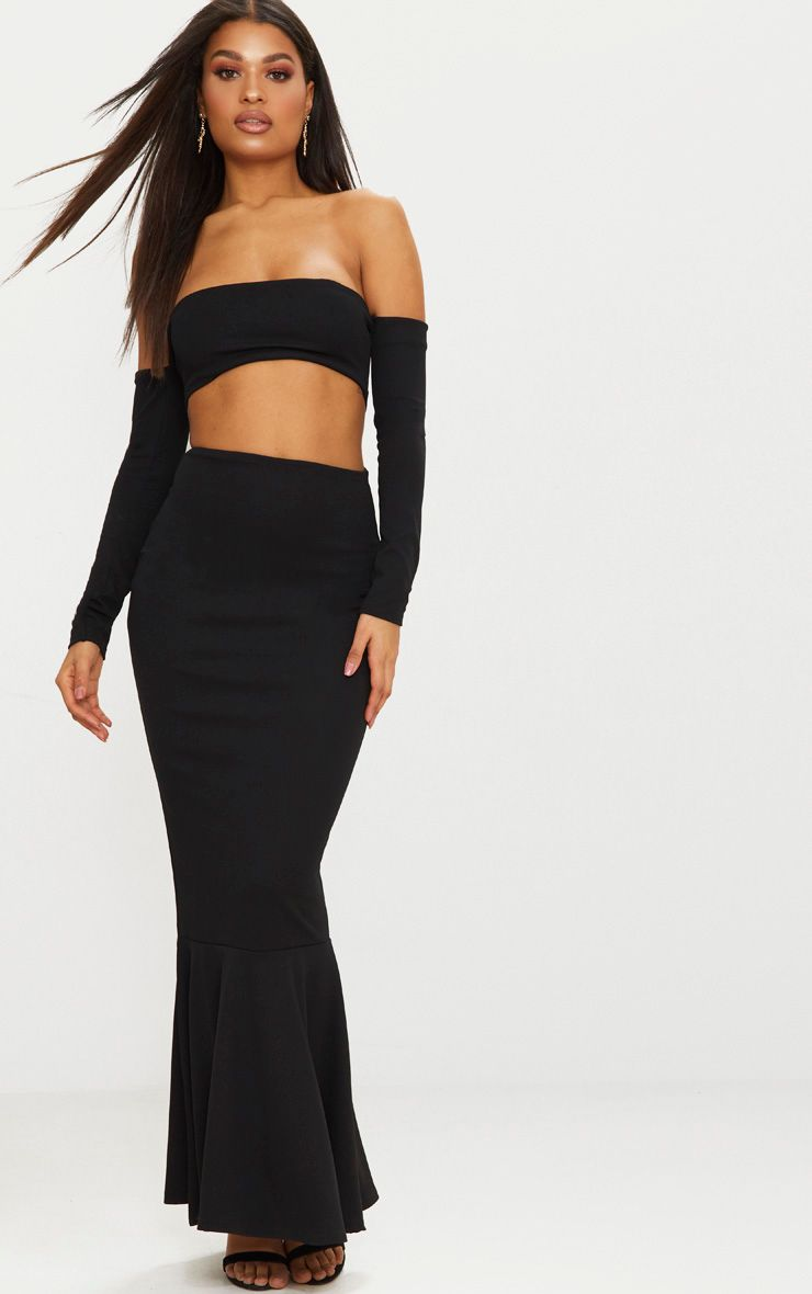 Black Bardot Long Sleeve Cut Out Detail Fishtail Maxi Dress