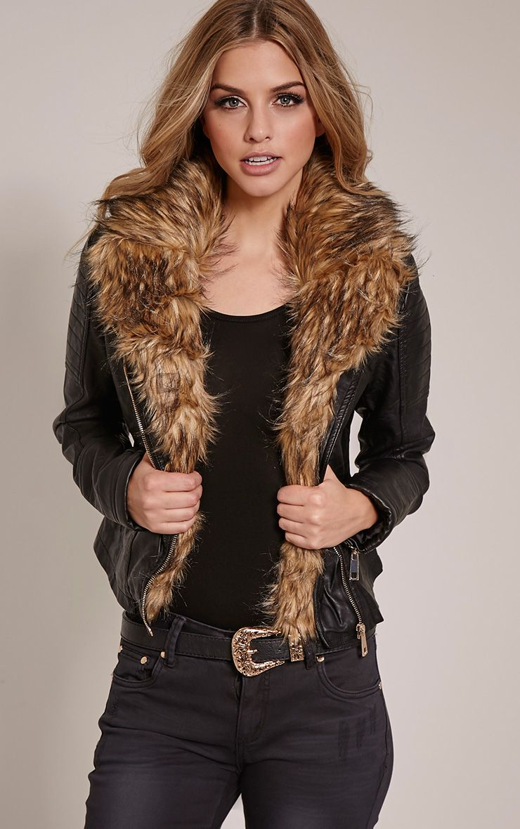 Lorra Black Faux Fur Collar Faux Leather Biker Jacket 1