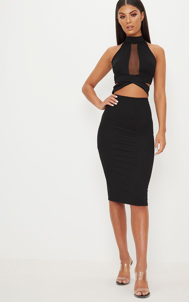 View Discount Really Black High Neck Cross Strap Mesh Panel Midi Dress Pretty Little Thing Cheap Sale Newest The Cheapest Sale Online KoCam