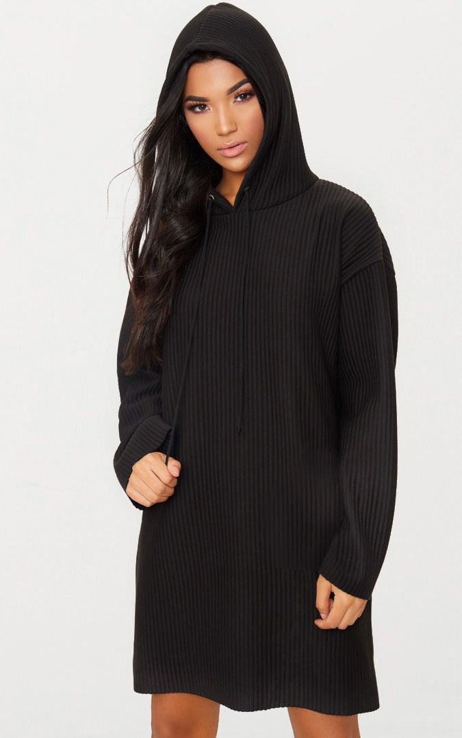 Black Ribbed Hooded Sweater Dress
