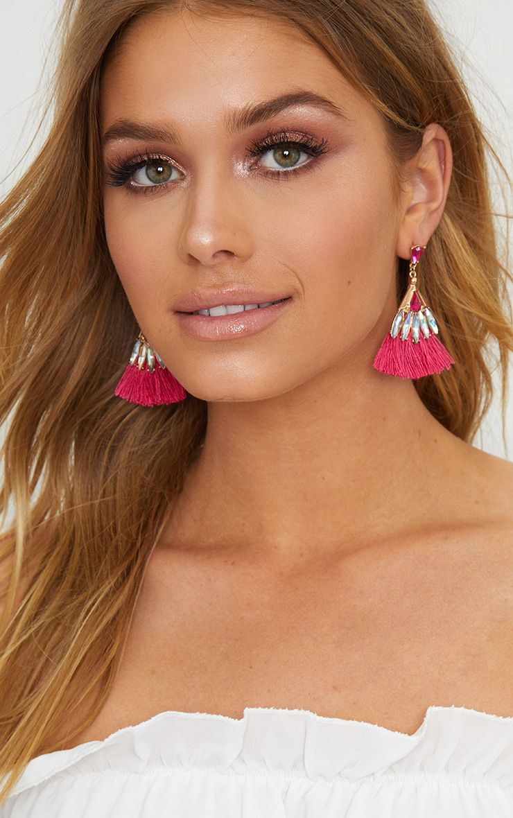 Fuchsia Diamante Layered Tassel Earrings