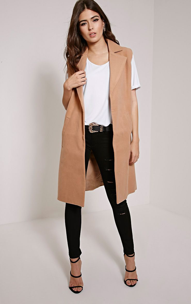 Huey Tan Sleeveless Duster Coat