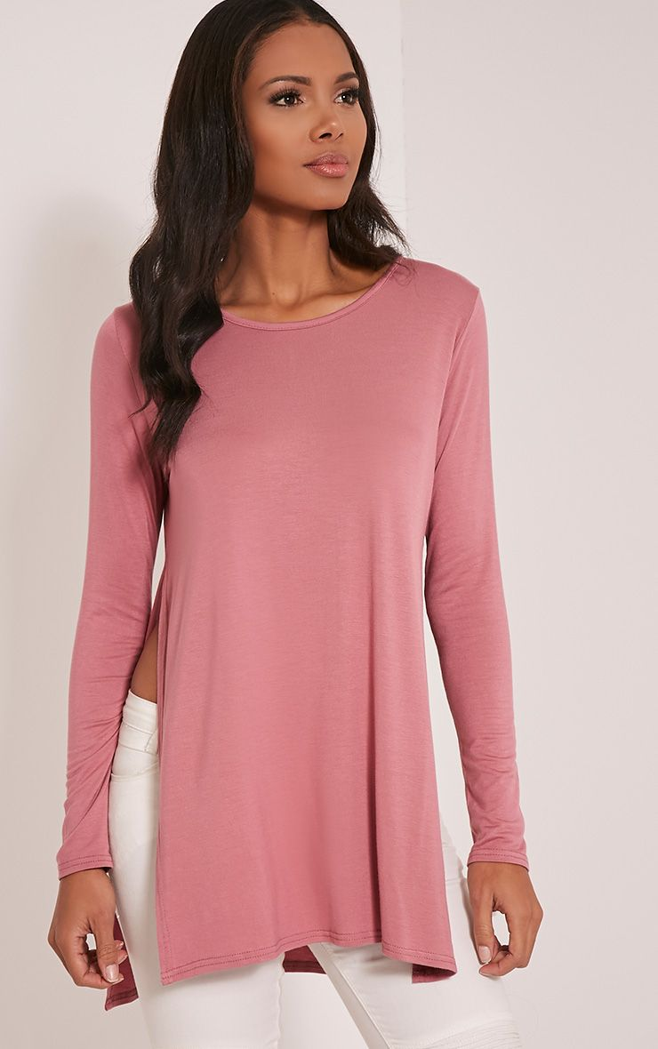 Basic Rose Long Sleeve Side Split Top